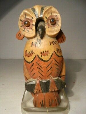 Vintage Folk Art Hand Carved Wood Owl Wall Hanging Mechanical Ears Wings & Beak