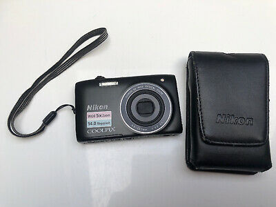Nikon Coolpix S3100 Black Digital Camera 14 MP With Case & EN-EL19 Battery