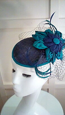 Wedding races occasion hat fascinator navy blue green teal flower detail