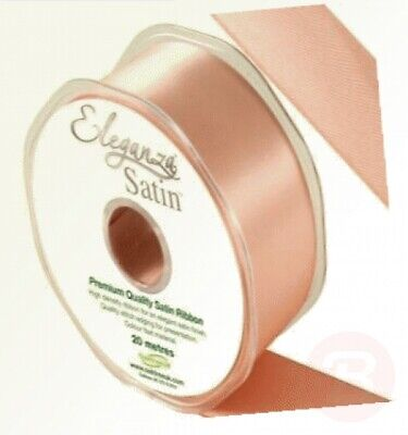 25mm x 1m Piece Eleganza Deep Rose Gold Wired Satin Ribbon Double Sided 50 38