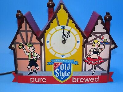 Old Style Beer Chalet Lighted Clock Sign.