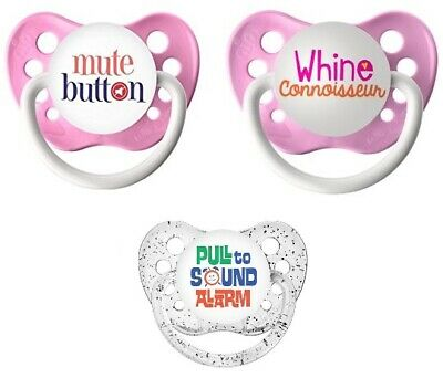 """ON MY MIND PACIFIERS /""""WHINE CONNOISSEUR/"""" /& /""""NO COMMENT/"""" 3+month PINK//WHITE"""