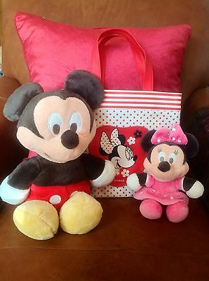 Disney Mickey Mouse & Minnie Mouse Plush Toy Figures With Minnie Tote Bag Bundle