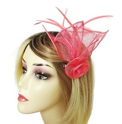Pink Small Fascinator Hair Grip Flower Design with Feathers