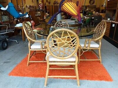 Rare McGuire San Francisco Sheaf of Wheat Round Rattan BOHO COMPLETE Dining  Set