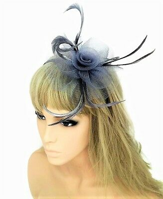 Silver Grey Feather Headband Fascinator Hatinator Races Mesh Net Flower