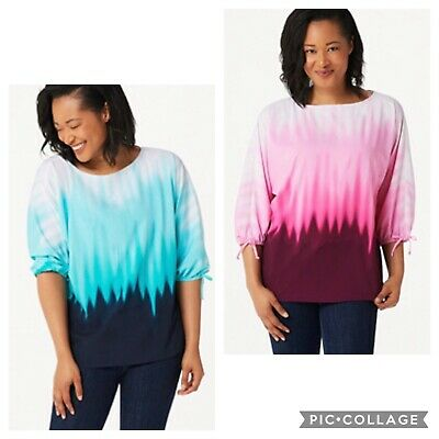 Belle by Kim Gravel Ombre Print Tie Sleeve Top A350499 Pink or Turquoise, XL, 3X