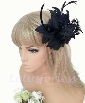 Black Flower Hair Clip Corsage Races Prom Pearl Bead Fascinator