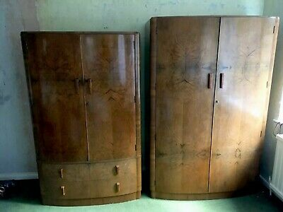 Beautiful Art Deco Walnut Vaneer His And Her Wardrobes