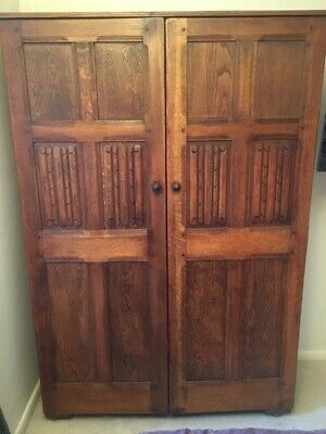 Beautiful antique oak wardrobe, dressing table and tallboy bedroom set