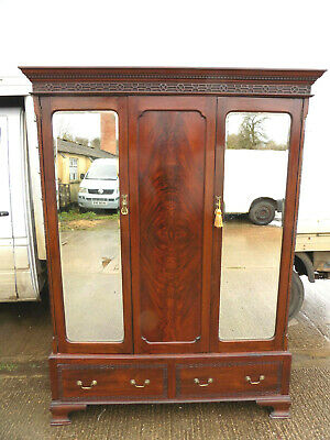antique,edwardian,mahogany,mirrored door,double,wardrobe,waring & gillow,drawers