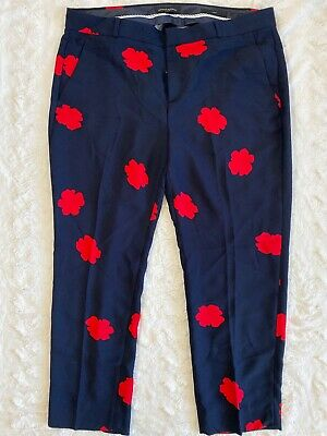 BANANA REPUBLIC Navy Blue Red Flower AVERY FIT Pants Ankle Crop Womens size 14