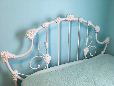 Antique Ornate Cast Iron Full Size Bed Frame Headboard, Footboard and Side-rails