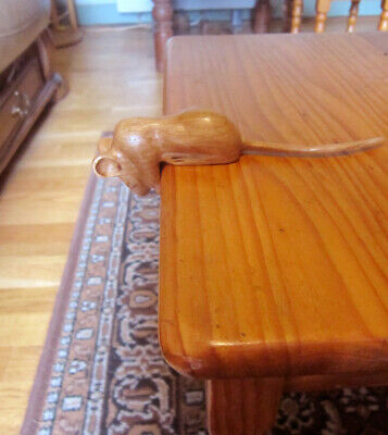 carved wooden oak mouse , mice, leaning ,peering