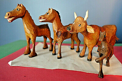 (4) Vintage CARVED WOODEN ANIMALS - Cow, (2) Horses, Colt
