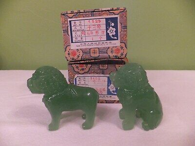 2 Vintage / Antique Hand Carved Light Green Bowenite Mythical Animals