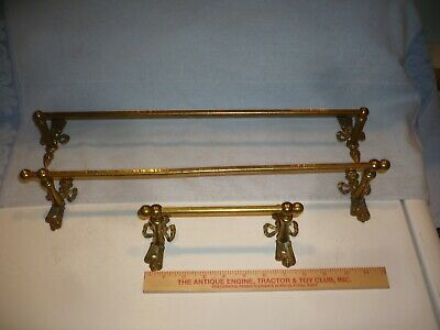 antique brass victorian  towel bars  rods toilet paper holder  nice patina
