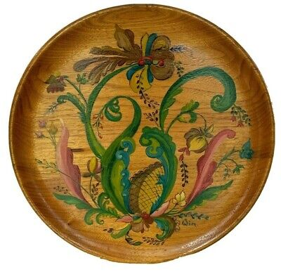Hand Painted Wooden Large Plate Signed Floral German? Collectible Folk Art