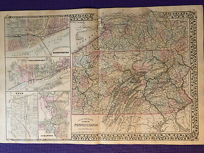 Mitchell's New General Atlas 1880 Pennsylvania Antique Map