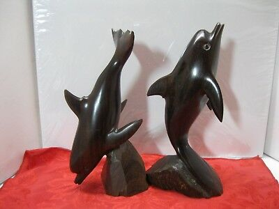 Vintage Set (2) Ironwood Dolphins Hand Carved Figurines Beautiful!