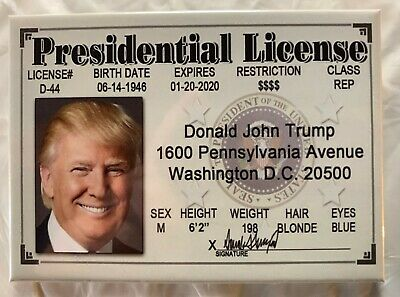 Donald Trump Presidential License Smile Novelty ID Drivers MAGA President Style2