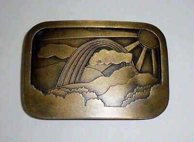 Rainbow Clouds Sun & Mountains Belt Buckle - Indiana Metal Craft - Collectible