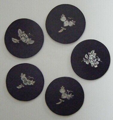 Set (5) Antique Chinese Coasters Asian Mother of Pearl (MOP) Inlay Black Lacquer