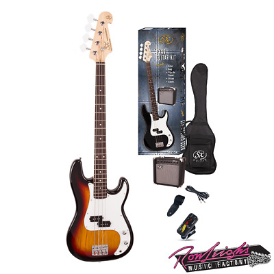 SX SB2SKTS 4 String P Bass Guitar with Amp and Accessories in Tobacco Sunburst