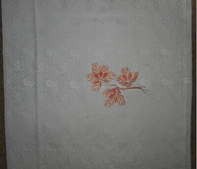 "Vintage Japanese Kimono Silk Fabric-Hand Embroidered Pine on Rinzu 14.25""x 64"""