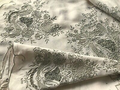 Antique Linen Round Tablecloth, Hand-Embroidery, Cutwork Drawn Thread Needlelace