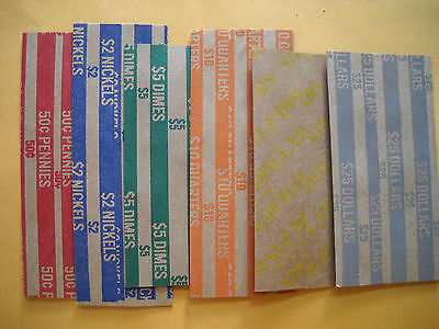 25 new USA half dollar halves flat paper coin wrappers fifty cent