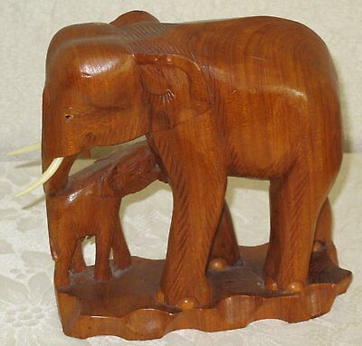 Hand Carved TEAK WOOD ELEPHANT and BABY - Vintage Travel Item