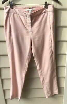 Laura Ashley 12 M Pale Pink Flat Front Pants Slim Leg Cropped Ankle Lined As New