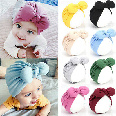 Cotton Infant Bowknot Headband Head Wrap Baby Beanie Hat Newborn Headband Hat