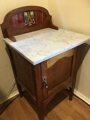 wash stand cupboard marble tile silky oak timber cabinet