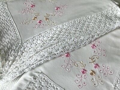 VINTAGE COTTON TOP SHEETS (2), MACHINE EMBROIDERY, LACE ¾ - double bed