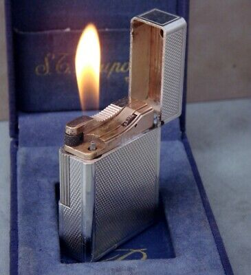 S.T. Dupont Ligne 1 Barley Small Vintage Gas Lighter Silver Plated & box