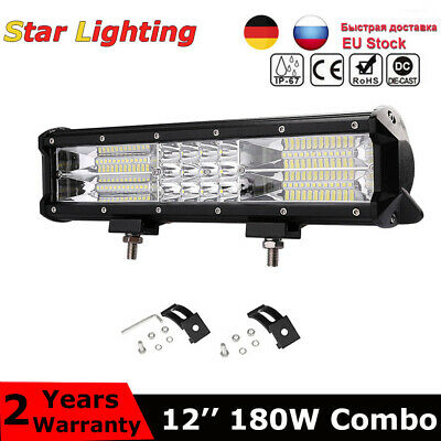 12 Inch LED Triple-Row Work Light Bar Flood Spot Driving Lamp Truck 4WD Off-Road