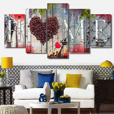 5Pcs Love Heart Home Canvas Wall Painting Picture Living Room Bedroom Art Decor