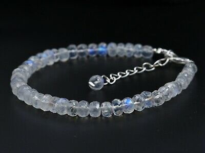 """Natural Superfine Quality Rainbow Moonstone 5-6mm Rondelle Faceted Bracelet 7"""""""
