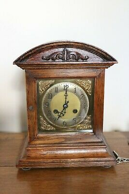 Vintage Wooden Chime Mantle Clock, Brass face, Winding Key. Good Condition
