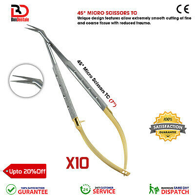 Castroviejo Micro Surgical Scissors Dental TC Micro Scissor Angled Lab Scissors
