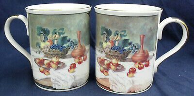 Two Classic English Bone China Mugs Fruit and table wine banquet Design