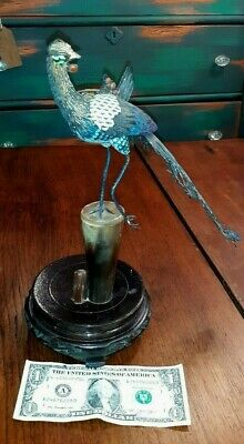 Old or Antique Chinese Silver and Enamel Bird Sculpture