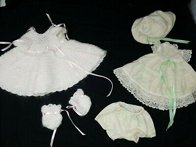 """Set of (2) Baby Doll Handmade and Hand Crocheted Outfits - fit 15-16"""" doll"""