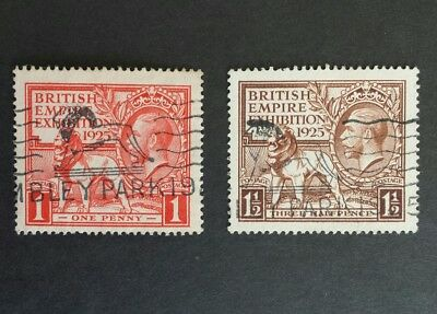 SG432 to 433 1925 KGV BRITISH EMPIRE EXHIBITION, Wembley Park Postmarks F/Used