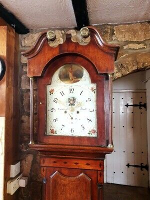 An antique Georgian Oak, Mahogany & Inlaid Grandfather Longcase Clock C1810