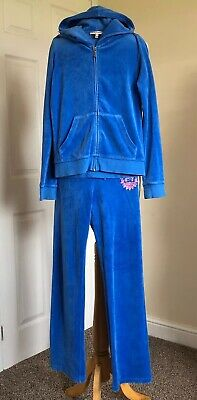 JUICY COUTURE Girls Hooded tracksuit . Age 12 years . Mid Blue. Good condition