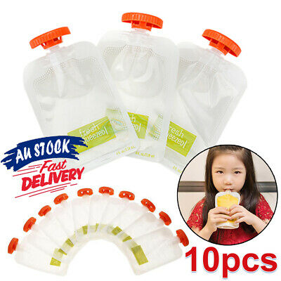 10pcs Station Fruit Maker Baby Food Pouches DIY Kit Feeding Storage Squeeze