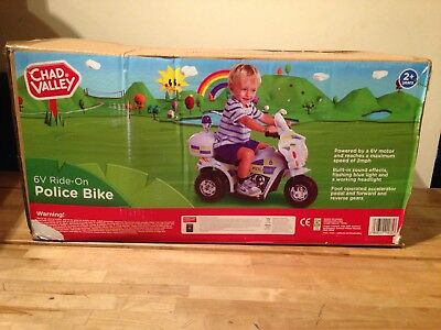 Chad Valley 6V Powered Ride On Police Bike BNIB NEW.